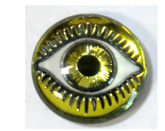 18MM Mysterious Eye Yellow/Lime Cabochon
