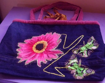 upcyled denim bag with applique and velvet handles