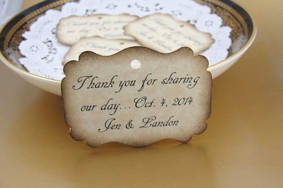 Personalized Wedding Favor Tags Rustic Favors Gift Tags Shower Favor Tag Welcome Bag Tag