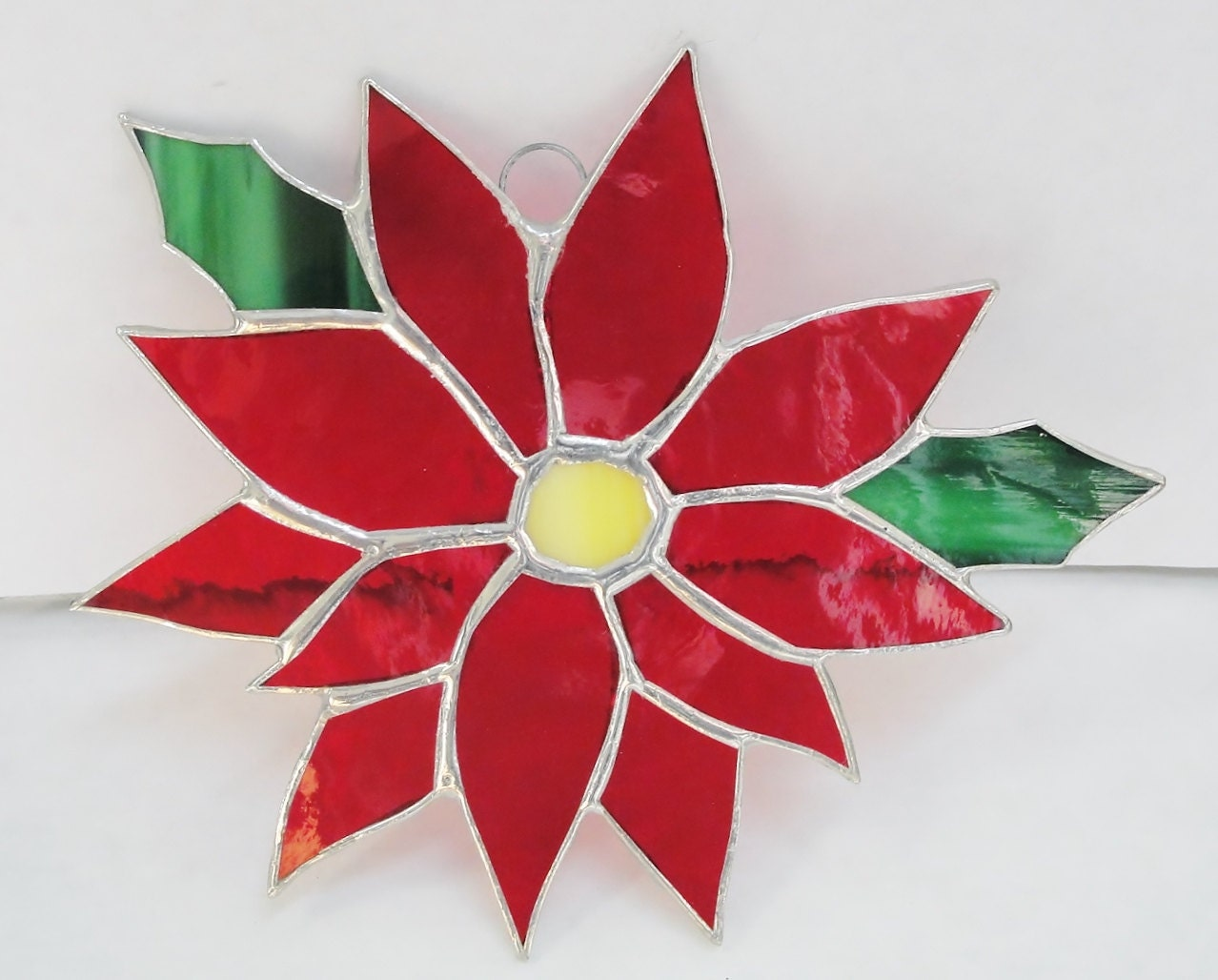 Stained Glass Poinesettia Flower Handmade and gorgeous !