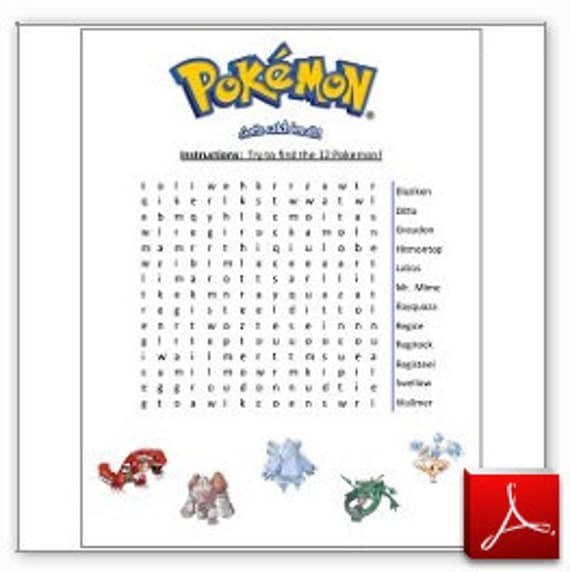 Captivating Printable Pokemon Wordsearch Game   Instant Download Photo