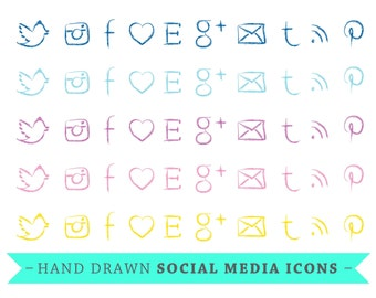 Social Media Icons - Hand Drawn icons - Navy, Blue, Purple, Pink, Yellow - VECTOR Files - for Blogs & Websites