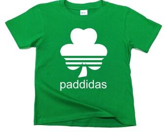 Paddidas Kids T-Shirt. Paddy, Irish, Funny, Parody, Paddys Day, St Patrick's Day, Ireland Holiday, Humour
