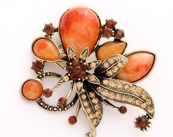 Orange Brown Brooch Crystal Burnt Orange Broach Autumn Color Brooches Jewelry