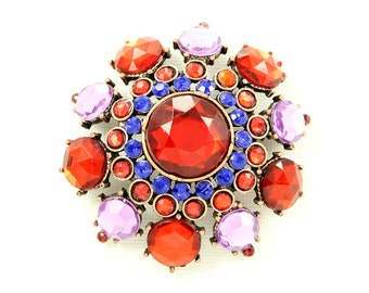 Purple Red Brooch, Red Blue Broach, Starburst Pin, Star Brooches, DIY Project Craft Jewelry Embellishment