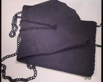 grey suede bag with chain