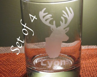 4 Personalized Etched Deer Double Old Fashioned Glass, Add Name, Personalize, Custom