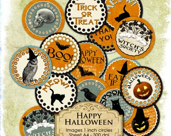 HAPPY HALLOWEEN 1 inch circle Digital Download printable images for glass or resin pendants magnets bottle caps bezel trays cabochon - tn134