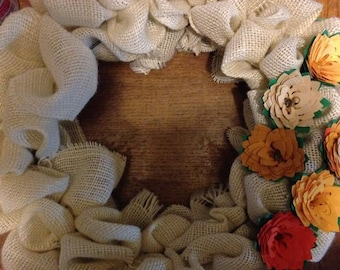 Burlap wreath with paper flowers