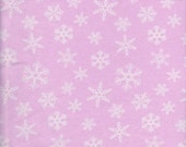 Snowflakes on PINK Cotton Lycra Jersey Fabric [SKU:MFR2FAB001]