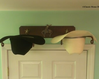 American Made Cowboy Hat Rack with Buckin Bronc Rider & Gold Stars  Powder Coated Rust