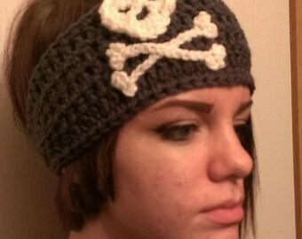 Crocheted Ear Warmer Headband w/skull and crossbones