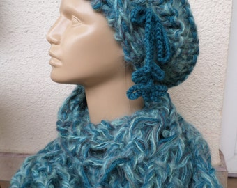 WINTER SALE Hat and Scarf Set, Slouchy Hat, slouchy beany,mint hat and scarf,blue-green knij hat and scarf, winter accessories, gift for her