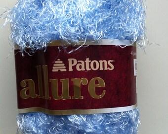 Patons ALLURE AQUAMARINE Color #04128 dyelot #97182 Crochet and Knitting Eyelash Yarn Soft Yarn for Trim ~