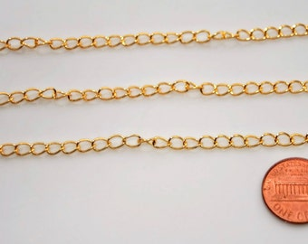 20ft gold chains,Large gold chains,chunky gold chain,gold nickel free chains,Kette Gold,Gold iron twist chain,6x3x0.7mm