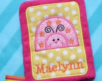 Applique Ladybug Wash Mitt Embroidery Machine Design for the 5x7 hoop