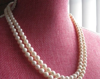 """20.5"""" double strand fresh water cultured pearl necklace"""