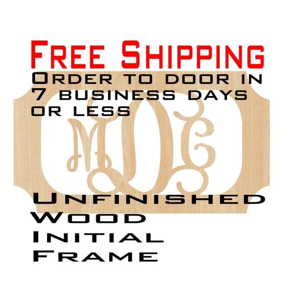 Unfinished Wood Melanie Frame Monogram, Name, Word, Custom, laser cut wood, wooden cut out, Wedding, Personalized, DIY