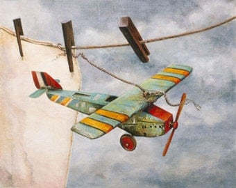 Travel Note, Vintage Toy Airplane on Clothes Line, Antique Image Card, Questionable Weather