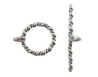 24mm Sterling Silver Toggle Clasp st9 - 2 pcs.