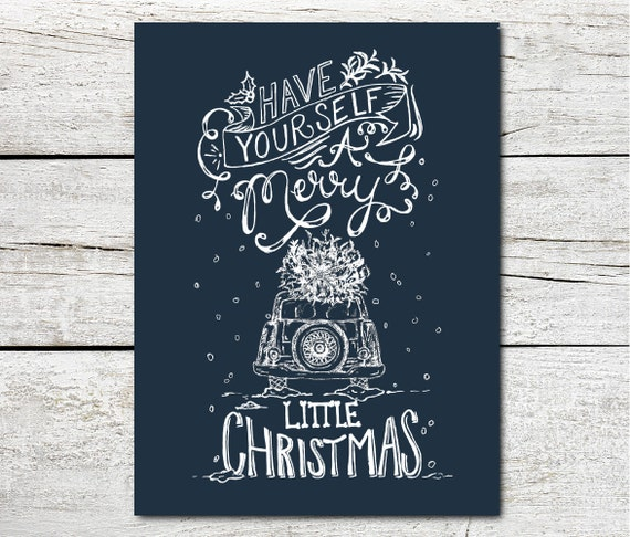 A Merry Little Christmas - Christmas Card - Blue, Red, Gray, Black