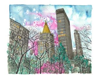 Giclee Print of Spring in Madison Square Park New York City Illustration