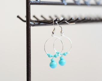 Earrings hoops Color Turquoise
