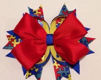 Autism Awareness Stacked Hair Bow