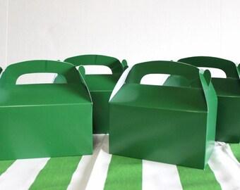 Green favor box, green gable box, party favor, candy box, - wedding favor, shower favor, birthday favor football soccer tractor