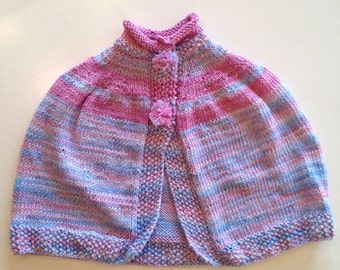 Baby Girl Capelet. Pink, Purple, Blue. Snap Closure with PomPoms. Hand Knit. 100% SugarCane Yarn.  Washable. All Natural Fibers.