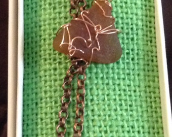 Copper bracelet with brown seaglass wrapped in copper wire