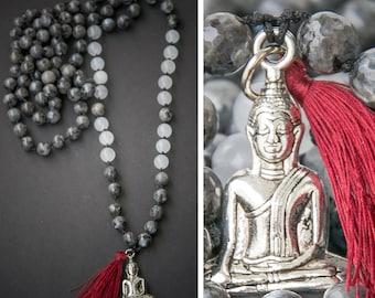 MEDITATION MALA long necklace // BUDDHA pendant / silk tassel / labradorite // Yoga Mala Buddhist mala rosary fashion look
