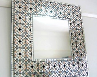 """Geometric Wall Art, Square Wall Mirror, Vanity Mirror, Framed Mirror, Bathroom Mirror, Custom Mirror, Free Delivery, Art, """"Pale Rose"""" – 52cm"""