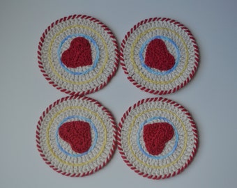 Cotton Creamy White Crochet Coasters with Red Heart - Set of 4