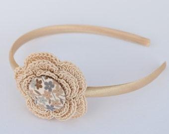 Beige crocheted flower headband