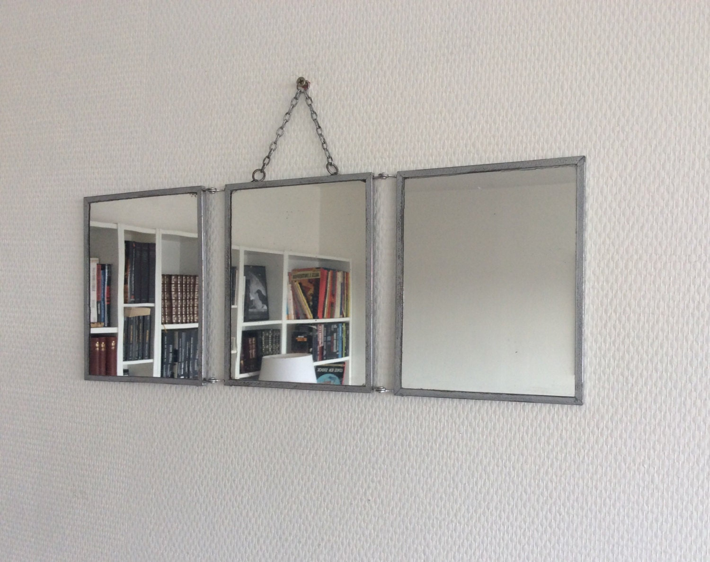 Petit miroir de barbier triptyque ann es 50 for Immense miroir