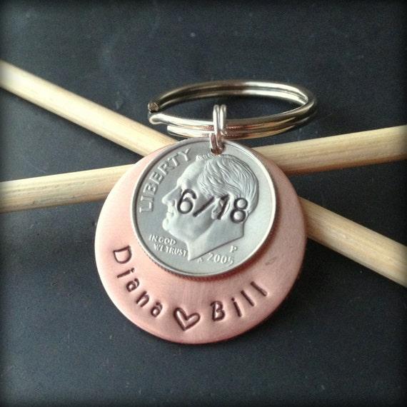 10 Year Anniversary Date Personalized Dime By Gemsbyjohnna