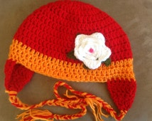 Orange w/white flower Crochet Hat