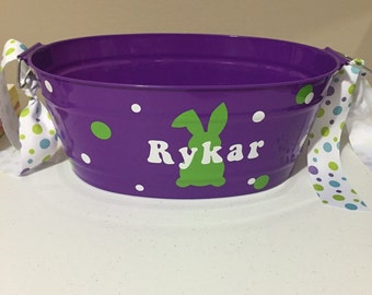 Personalized Easter baskets. 4 color pails to choose from. Pink, blue, green, purple. Any image and color vinyl of your choice.