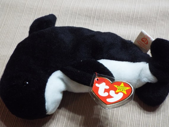 items similar to 1387 ty original beanie baby 1996 the beanie babies collection rare whale. Black Bedroom Furniture Sets. Home Design Ideas
