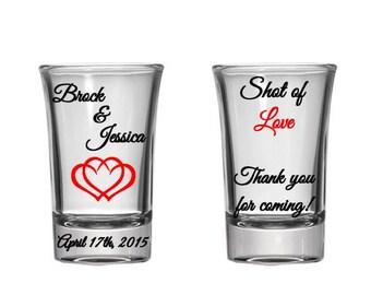 Personalized Wedding Shot Glasses Wedding Favors 1.5oz Glass Shot Glasses  Custom Personalized Wedding Favors