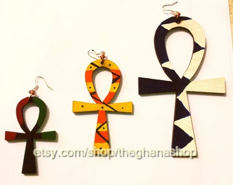 Extra Large - Small Wooden Ankh Earrings