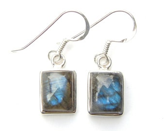 Absolutely Stunning Labradorite Sterling Silver Rectangular Earrings