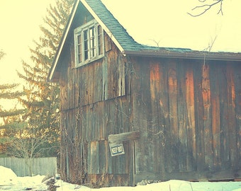 An Old Winter Barn in Upstate New York, Country Decor, Vintage Barn, Wall Decor