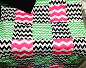 Colorful Chevron Quilt with black backing 32 inches wide 54 inches lenth