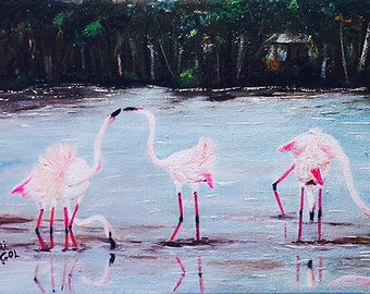 FLAMINGOS  Original piece of art,  fantastic  oil painting .beautiful soft colors. unique art work ,NOW********** Free Shipping*************