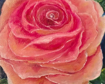 """ROSE--- original oil painting mini art from my """" sweets"""" collection gorgeous one of a kind piece of art. NOW*******Free Shipping********"""
