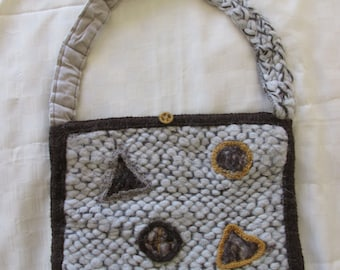 Hand knitted woven Slouch Bag