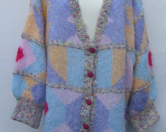 Hand knitted 'big is Beautiful' Tutti Fruiti Cardigan