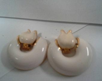 Vintage White Enameled Clip on Earrings